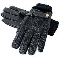 (マルカワジーンズパワージーンズバリュー) Marukawa JEANS POWER JEANS VALUE 手袋 メンズ グローブ スマホ対応 スマートフォン対応 ヘリンボーン PUレザー ベルト付 裏ボア ビジネス 2color Free チャコール