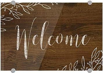 5-Pack Brown Premium Brushed Aluminum Sign Welcome CGSignLab 27x18 Good Neighbor