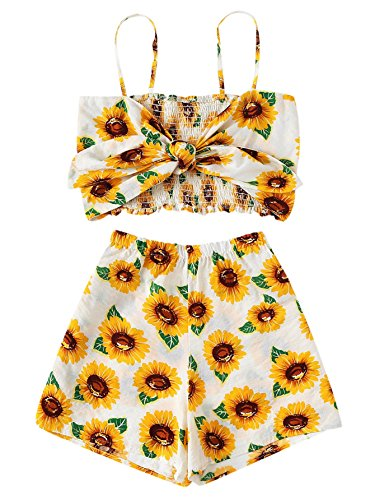 MAKEMECHIC Women's 2 Piece Outfit Summer Striped V Neck Crop Cami Top with Shorts Sunflower M ()