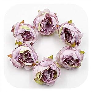 Memoirs- 5Pcs/Lot Artificial Flower Silk Peony Flower Heads for Wedding Party Decoration DIY Craft Wreath Scrapbook Home Decor Supplies,Light Purple 43