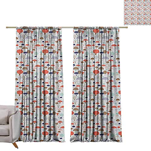 (Pocket Thermal Insulated Tie Up Curtains Doodle,Sketch Style Simplistic Hand Drawn Trees and Mushroom Colorful Forest Illustration, Multicolor W72