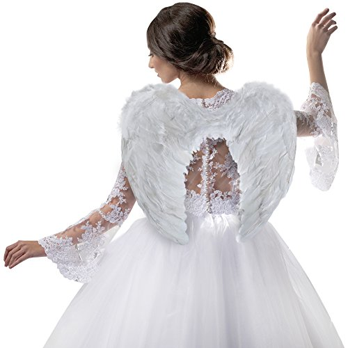 White Angel Costume (Angel Wing Feather Halloween Costume, Cosplay Christmas Wings for Kids and Adults, White)