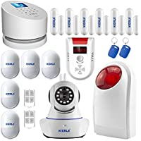 Wifi Alarm System,KERUI W2 GSM & Landline Home Wireless Security Fire System Kit With 720P Indoor Camera