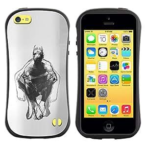 Suave TPU GEL Carcasa Funda Silicona Blando Estuche Caso de protección (para) Apple Iphone 5C / CECELL Phone case / / Man Body Pencil Drawing Art /