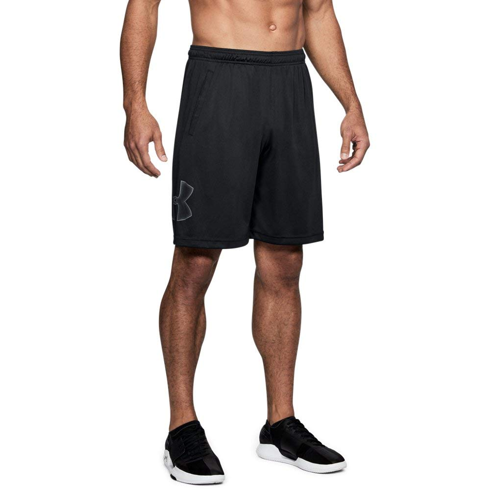 Under Armour mens Tech Graphic Shorts , Black (001)/Graphite, Small