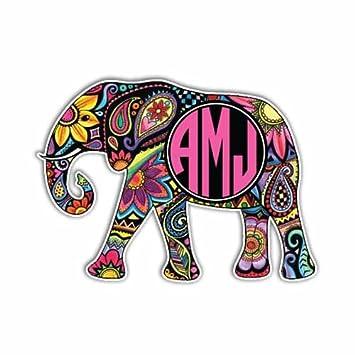 Amazoncom Custom Elephant Sticker Customizable Monogram Elephant - Elephant monogram car decal