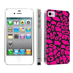 Apple iPhone 4 or 4s Ultra Slim Light Weight Plastic Cover Case By SkinGuardz - Black Pink Leopard