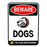"BEWARE DOGS - Aluminum Sign - 8"" x 11"" - Red - English"