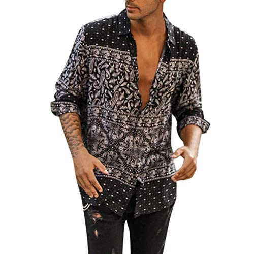 Men's Button Down Shirts,LuluZanm Sales! Male Fashion Summer Autumn Long Sleeve Tops Beach Printed Loose Blouse Black