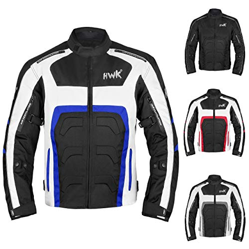 HWK Textile Motorcycle Jacket Motorbike Jacket Biker Riding Jacket Cordura Waterproof CE Armoured Breathable Reissa Membrane - Removable Thermal lining - 1 YEAR WARRANTY!! (Medium, Blue) ()