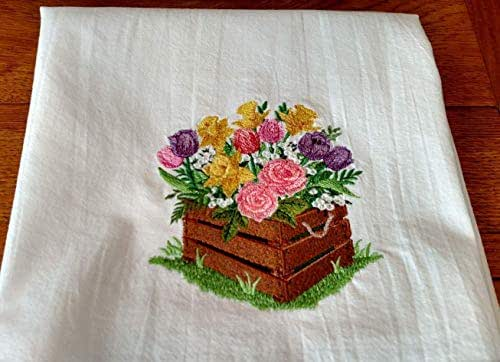 Amazon.com: Embroidered tea towel, wooden box of flowers