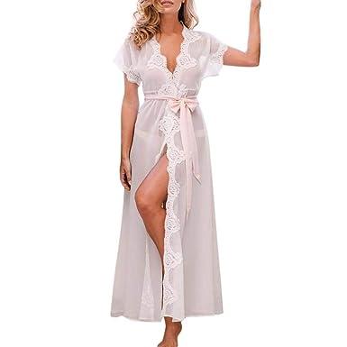 Kimono para Mujer Bata Albornoz Pijamas De Largos Mujeres Encaje Casuales Noche Cálido Mantilla Satén Cuello En V con: Amazon.es: Ropa y accesorios