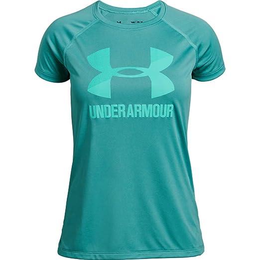 cb6dd24fe Amazon.com: Under Armour Girls' Big Logo T-Shirt Solid Short Sleeve ...