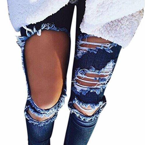 Pantalons Taille Slim Décontracté Mid Rayures Femmes Long Occasionnels Bleu Casual Adeshop Pants Denim Jeans Trou Ripped Mode qRPaOC6