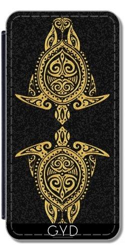 Leder Flip Case Tasche Hülle für Apple Iphone 7 / Iphone 8 - Schamanistische Meeresschildkröte Gold by EDDA
