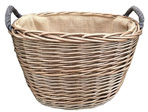 Medium Oval Hessian Lined Log Basket
