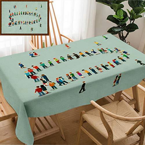 Unique Custom Design Cotton and Linen Blend Tablecloth