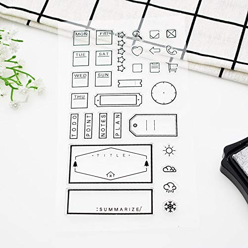 Dalab 1pc Office Weekly Plan Rubber Clear Stamps Weather Notes Silicone Clear Stamps for Scrapbooking Office Paper 690
