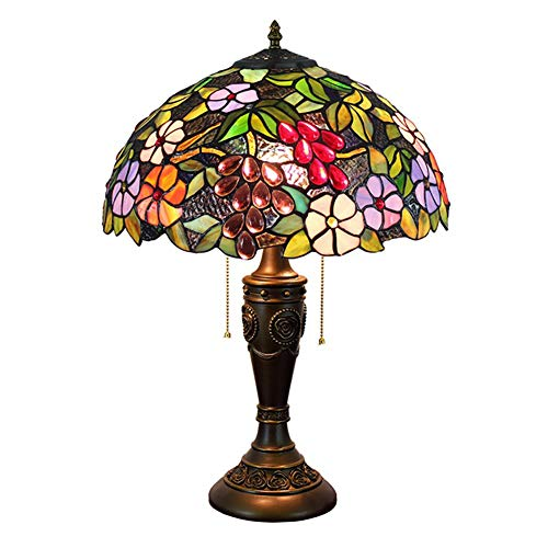 Tiffany Style Lamp Stained Glass Grape Art Table Lamp Antique Style Pedestal 16 '' Table Lamp Lighting 220v Living Room Bedroom Bedside Lamp E27