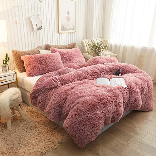 XeGe Plush Shaggy Duvet Cover Luxury Ultra Soft Crystal Velvet Bedding Set 1PC(1 Faux Fur Duvet Cover),Zipper Closure(Twin,Old Pink)