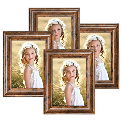 Q.Hou 5x7 Picture Frame Rustic Brown Wood Pattern Photo Frames 4 Packs for Tabletop or Wall Mount (QH002-MD5X7-RB) (Browns Picture Frame)