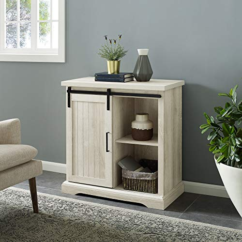 WE Furniture Modern Farmhouse Buffet Entryway Bar Cabinet Storage, 32 Inch, White