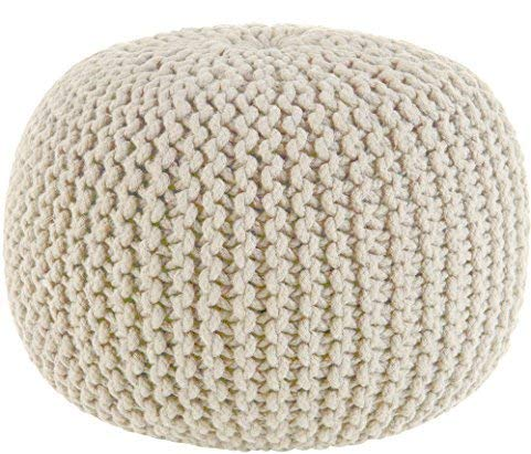 Cotton Craft - Hand Knitted Cable Style Dori Pouf - Ivory - Floor Ottoman - 100% Cotton Braid Cord - Handmade & Hand Stitched - Truly one of a Kind Seating - 20 Dia x 14 High Cotton Naturals Full Seat