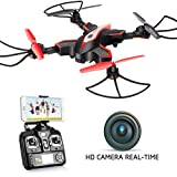 DoDoeleph Syma X56W Foldable RC Drone with FPV HD WiFi Camera Live Video Folding Remote Control Quadcopter for Kids and Adults - Altitude Hold Headless Mode One Key Return Black
