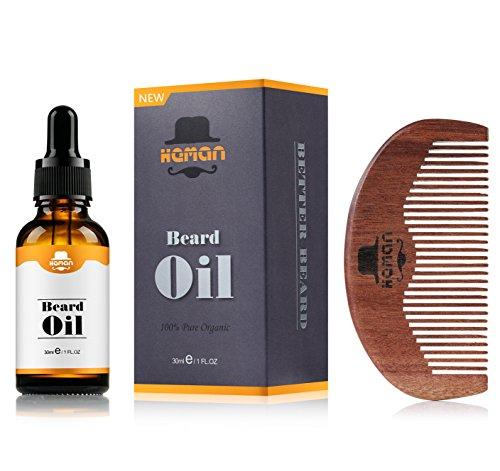 Beard Oil Kit for Men by HEMAN, Men's Beard Oil with Comb, 100% Natural & Organic, 1 fl.oz. Mustache & Goatee Growth Beard Oil, Beard Grooming Care Set for Men, Best Gift for Gentlemen