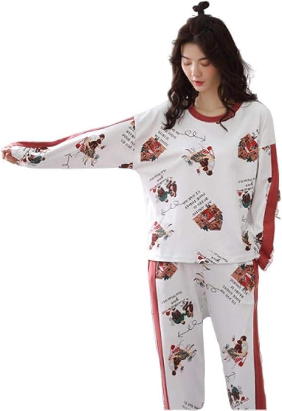 Pijamas para Mujer, Conjunto De Pijama Suave De Algodón para Mujer, Manga Larga, Ropa De Dormir para Niña, Parte Superior E Inferior, Estampado De Pijamas, Ropa De Salón: Amazon.es: Ropa y accesorios