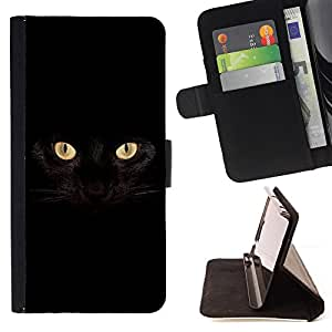 BullDog Case - FOR/Samsung Galaxy S5 Mini, SM-G800 / - / black cat Siamese panther house pet /- Monedero de cuero de la PU Llevar cubierta de la caja con el ID Credit Card Slots Flip funda de cuer