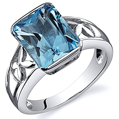 Swiss Blue Topaz 3.50 Carats Ring Sterling Silver Rhodium Nickel Finish Radiant Cut Sizes 5 to 9 supplier