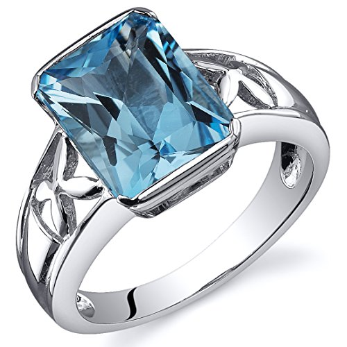 (Swiss Blue Topaz 3.50 Carats Ring Sterling Silver Rhodium Nickel Finish Radiant Cut Size 7)