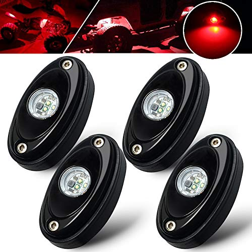 4 Pods Red Rock Lights Kit Waterproof underglow LED Neon Underbody Fender Lights for Jeep Off Road Truck Car ATV SUV Boat Under Body Glow LED Accent Lighting Lamp ()
