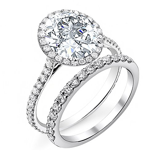 Diamond Mansion's Dazzling Genuine Round Halo Pave Diamond Engagement Bridal Set - GIA Certified (Platinum, (Center Cvd Set)