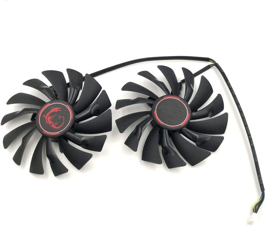 PLD10010S12HH Replacement Graphics Card Cooling Fans for MSI GTX 950 960 970 1060 RX 470 Gaming (2pcs/Set)