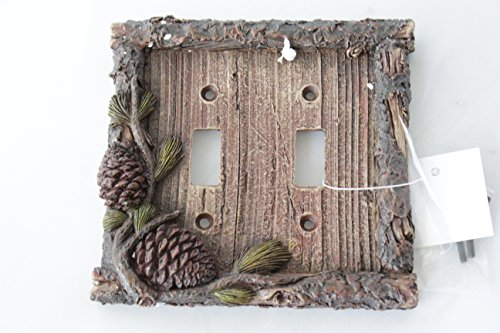 Pine Cone Switch Rocker Plate Covers Electric Outlet Plate Pine Wood Cabin Lodge Decor (double - Pine Wood Lodge
