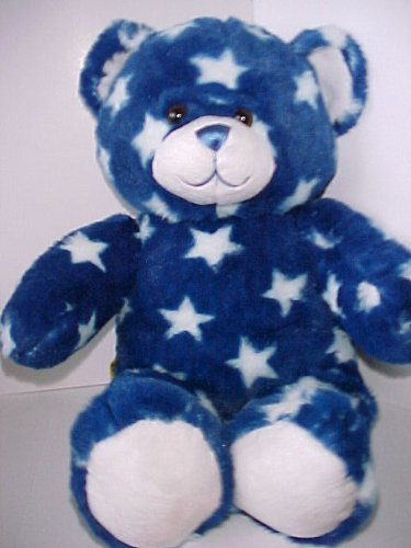 Dark Blue Bear (2012 Build A Bear Star Style Teddy Bear - Blue with White Stars Teddy - Retired - 16