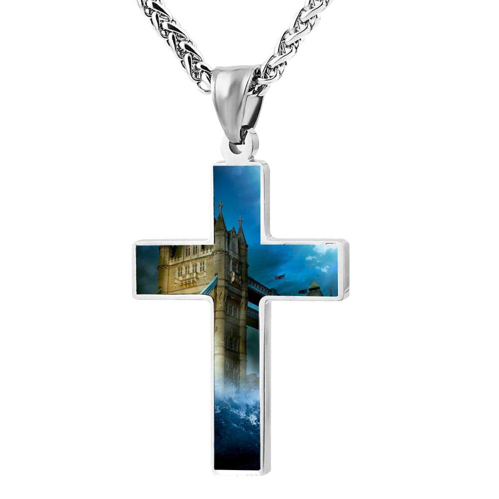 Cross Necklace,Flood Bridge Print Pattern Prayer Christ Necklace Pendant Custom 24 Inch