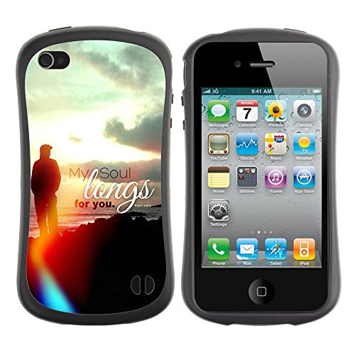 DREAMCASE Citation de Bible Silicone et Rigide Coque Protection Image Etui solide Housse T¨¦l¨¦phone Case Pour APPLE IPHONE 4 / 4S - MY SOUL LONGS FOR YOU - PSALM 43:6