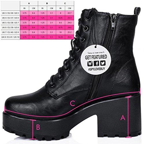 Femmes Sintético Spylovebuy Cuero Bottines Talon Bloc Chaussures Lacet Negro à Shotgun Pqv7rqw5
