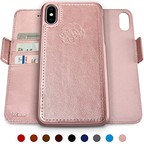 Dreem Fibonacci 2-in-1 Wallet-Case for iPhone X & Xs, Magnetic Detachable Unbreakable TPU Slim-Case, Wireless Charge, RFID Protection, 2-Way Stand, Luxury Vegan Leather, Gift-Box - Rose-Gold