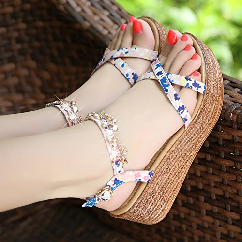Xing Lin Leather Sandals Wedge Sandals Women Summer New Thick Soles Shoes Diamond Sweet Student Shoes High Heels Shoes light pink