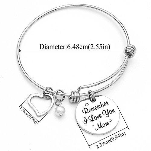 Yoomarket Mom charm bracelet Remember I love you mom Pearl Adjustable Pendant Bracelet Stainless Steel Women Jewelry Birthday Present by Yoomarket (Image #2)