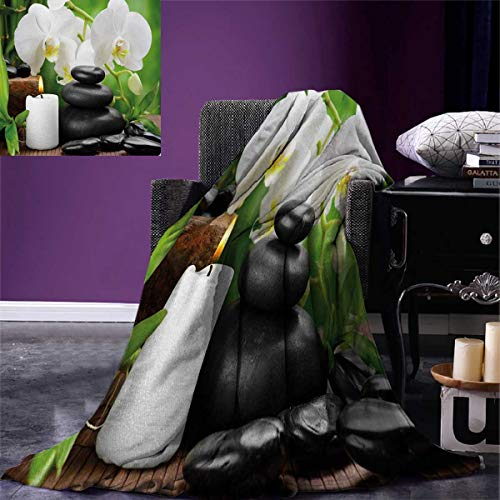Spa Digital Printing Blanket Zen Hot Massage Stones with Orchid Candles and Magnificent Nature Remedies Summer Quilt Comforter 80''x60'' Black White and Green by