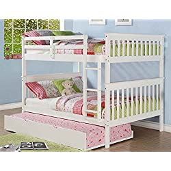 Full Over Full Mission Bunkbed with Roll Out Twin Trundle