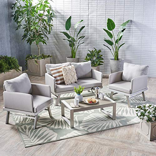 Seater Garden 4 (Great Deal Furniture Muriel Outdoor 4 Seater Aluminum Chat Set with Cushions, Silver Finish and Light Grey)