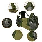 Masque Pliable Airsoft Mesh avec Protection Oreille et Casquette de Baseball Réglable Set pour CS/Chasse/Paintball/Tir 12