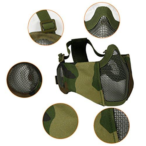 Masque Pliable Airsoft Mesh avec Protection Oreille et Casquette de Baseball Réglable Set pour CS/Chasse/Paintball/Tir 5