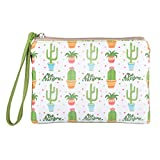Rantanto Cute Canvas Cash Coin Purse, Make Up Bag, Cellphone Bag With Handle (BG0027 Succulent Cactus)